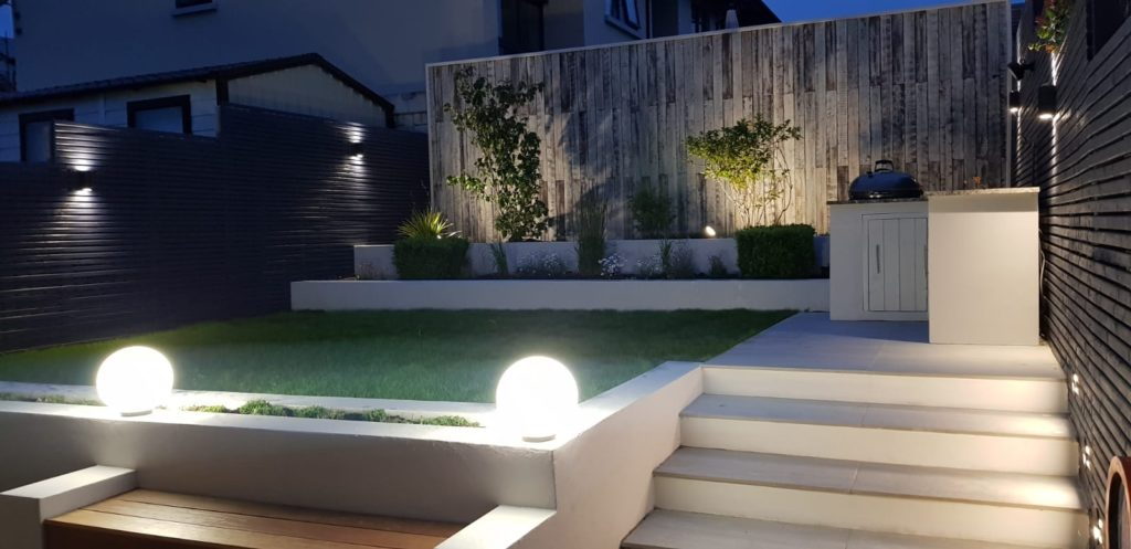 This is a recently built garden that can show itself off morning, noon or night.